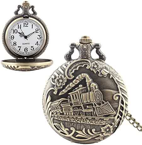 Vintage Pocket Watch with Chain Retro Style DelicatedTimepiece Quartz Watch Perfect Gift