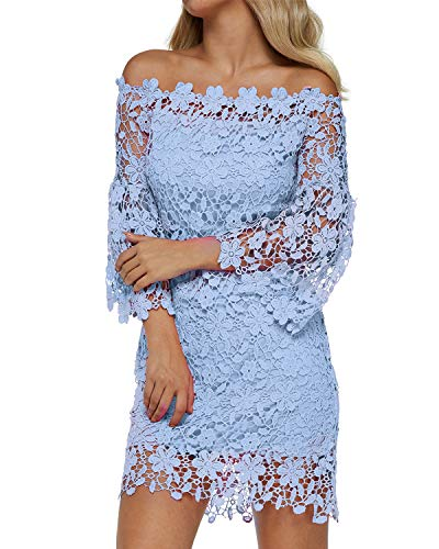 Auxo Women Off Shoulder Floral Lace Dress Vintage Crochet Bodycon Flared Sleeve Midi Party Cocktail Dressess Blue L