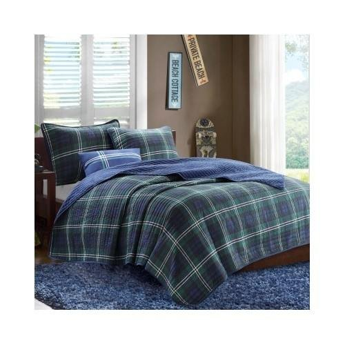 Reversible Green Blue Plaid Coverlet Bedding Set Teen Kids