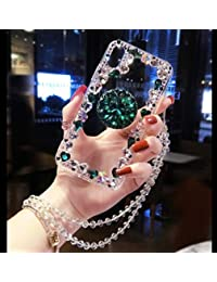 Amocase Diamond Clear Case with 2 in 1 Stylus for Samsung Galaxy A8 2018,Luxury Girly 3D Handmade Gemstone Soft Rubber Bumper Ring Stand Holder Bling Case with Crystal Neck Lanyard - Green