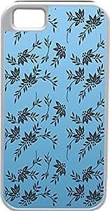 nazi diy Blueberry Design iPhone 4 4S Case Cover Light Blue Background Black Flower Illustrations