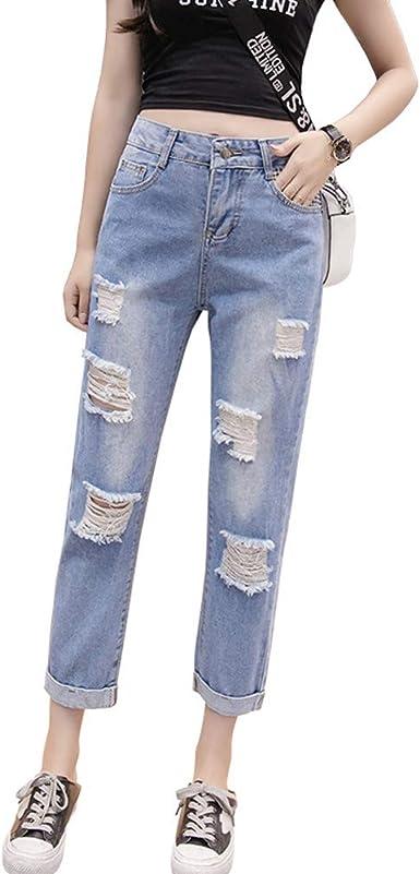 Amazon Com Yukiesue Pantalones Vaqueros Para Mujer De Cintura Alta Pantalones Vaqueros Sueltos Casuales Pantalones Vaqueros Capris Vaqueros Femeninos De Talla Grande Clothing
