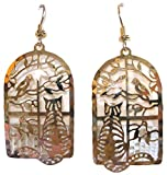 Tabby Cat in The Window with Bird and Tree 14KT Gold Plated Dangle Earrings