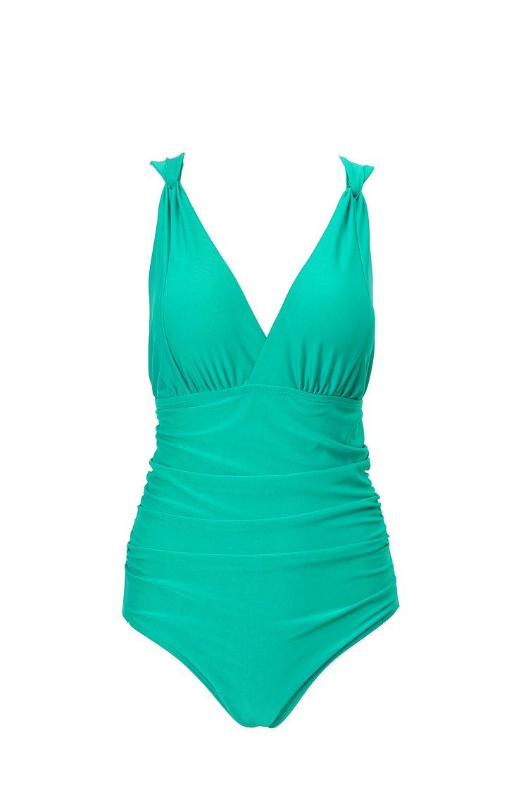 DFXIU V-Collo Costume da Bagno intero Donna Push up Monotoni Retro Tankini Regolabile Costume da Mare Sexy Pezzo Intero(S-4XL) (M(EU32-34), Verde)