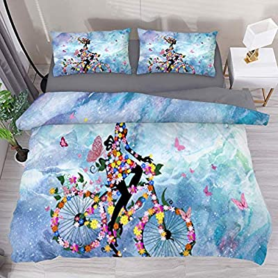 LvShen Butterfly Romantic Flowers Bedding Sets Full Size Bed Coverlet Duvet Cover Set with 2 Pillow Cases Shams 3 Pieces Printed Sheets for Teen Boys Girls: Home & Kitchen