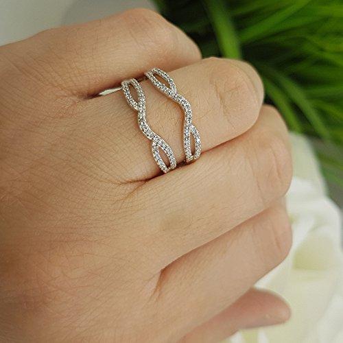 Dazzlingrock Collection 0.35 Carat (ctw) 10K White Diamond Wedding Band Enhancer Guard Double Ring 1/3 CT, White Gold, Size 6.5 by Dazzlingrock Collection (Image #6)