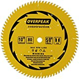 Overpeak 10 inch Circular Saw Blade, 80 Tooth ATB Finish Hard & Soft Wood Saw Blade General Wood Cutting Saw Blades with 5/8' Arbor, 4 Silencer slots