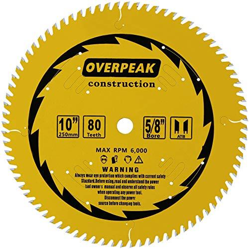 Overpeak 10 inch Circular Saw Blade, 80 Tooth ATB Finish Hard & Soft Wood Saw Blade General Wood Cutting Saw Blades with 5/8