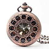 Zxcvlina Classic Smooth Creative Hollowed Unisex Mechanical Pocket Watch Boutique Flower Carved Retro Pocket Watch with Chain Suitable for Gift Giving