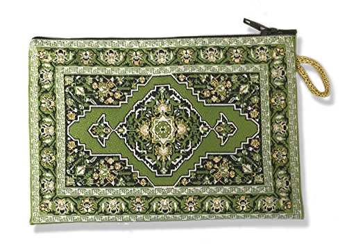 Religious Gifts Green Case Tapestry Rosary Case Pouch Purse Keepsake Holder 5 1/2 Inch Width