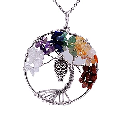 Shell Full Moon Ancient Silver Owl 7 Chakra Stone Family Root Tree Life Necklace Animal Wire Wrapping Pendent Healing Quartz Raw Amethyst Gemstone Jewelry Natural Birthstone Necklace for - Life Pendant Wire