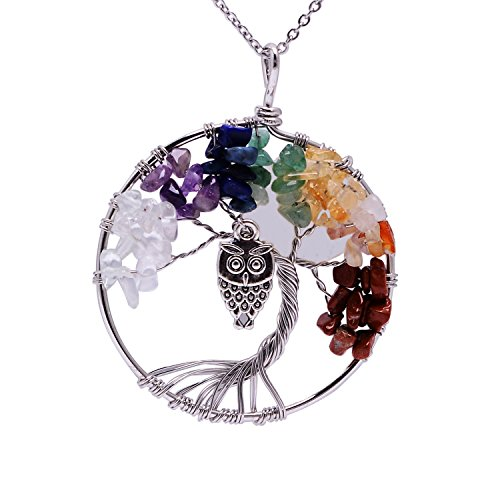 Shell Full Moon Ancient Silver Owl 7 Chakra Stone Family Root Tree Life Necklace Animal Wire Wrapping Pendent Healing Quartz Raw Amethyst Gemstone Jewelry Natural Birthstone Necklace for Mom - Necklace Of Owl