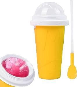 Jingbtful slushy maker cup slushie cup machine,quick frozen magic icee maker slushy for kids protable squeeze ice cream maker for adult home (yellow)