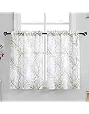 """White Kitchen Curtains Windows Tree Branch Print Semi-Sheer Tiers for Bathroom Small Café Curtain Set, Grey/Green 24"""" Length, 2 Panels"""