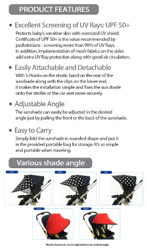 Manito Sun Shade for Strollers and Car Seats - Black (7 Available Colors) by Manito (Image #2)