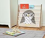 3 Sprouts Book Rack – Kids Storage Shelf Organizer Baby Room Bookcase Furniture, Owl/Gray