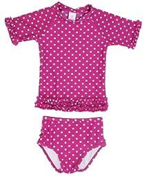 RuffleButts Infant / Toddler Girls Berry Polka Dot Ruffled Rash Guard Bikini - Berry - 18-24m