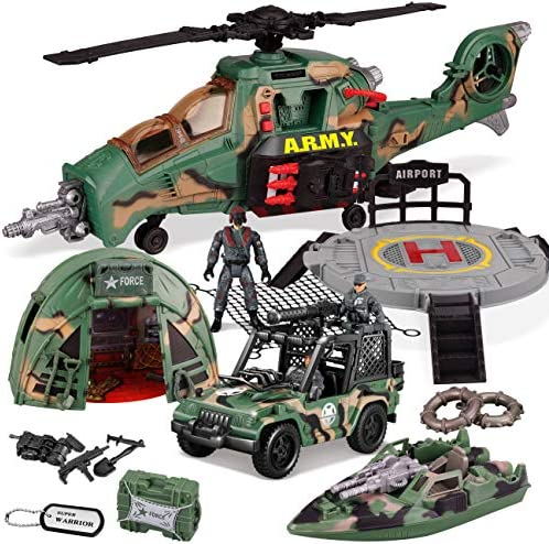JOYIN 10-in-1 Jumbo Military Combat Helicopter Toy SetMilitary Vehicle Toys and Military Action Figures Realistic Lights and Sounds for Combat Toys Imaginative Play