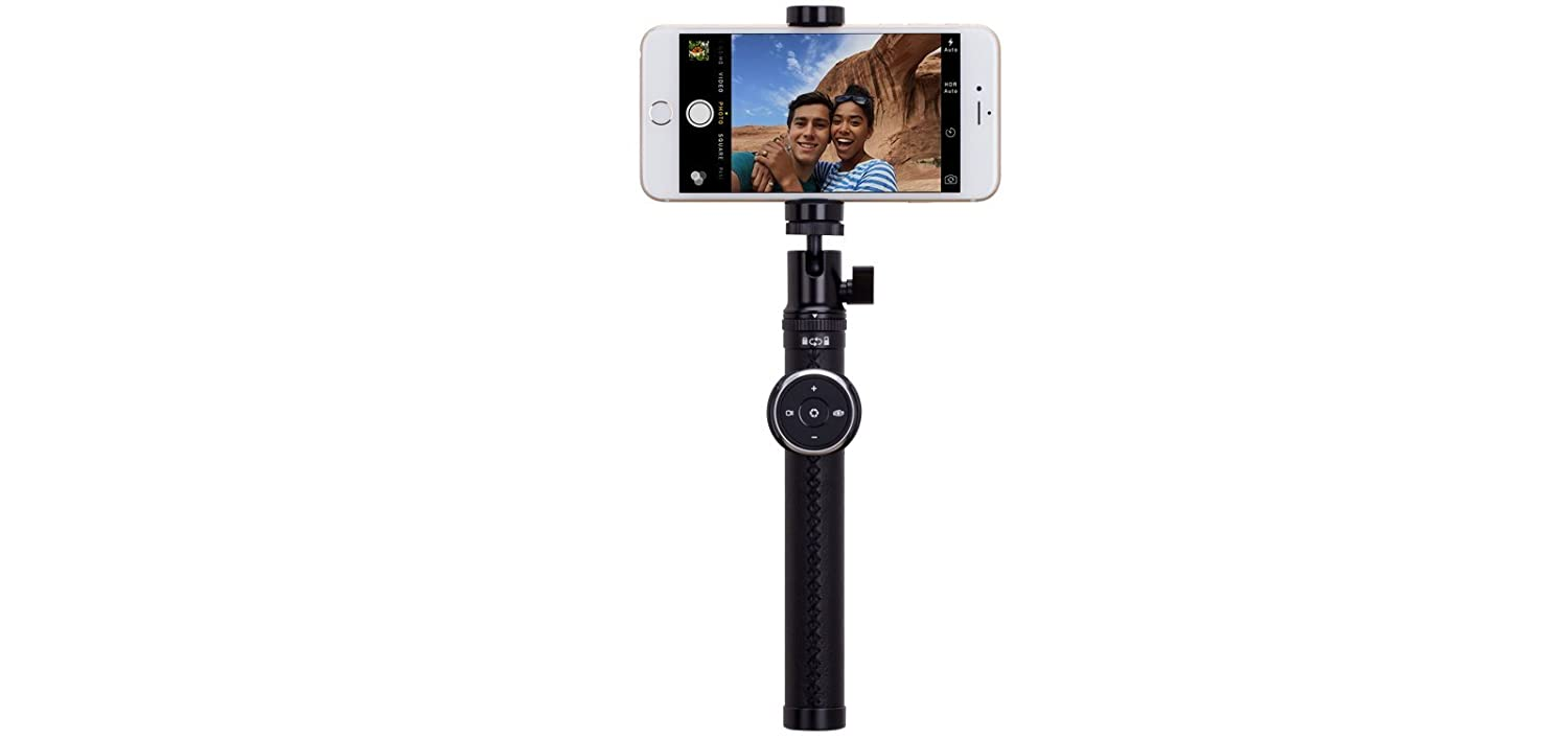 MOMAX Wireless Selfie Stick 35 Luxe Foldable Extendable Selfie pod with Removable Mult-function Bluetooth Romote Shutter fit for Smartphone and Camera 90cm Champagne Metal + Leather