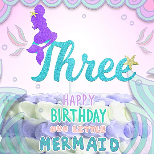 3rd Mermaid Happy Birthday Cake Topper Blue Gold Glitter Under The Sea Theme Photo Décor Picks for Baby Shower And Wedding Party Three Year Old Decorations Supplies -