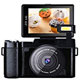 Digital Camera Vlogging Camera for YouTube with Flip Screen Full HD 24MP 1080p 3.0 Inch WiFi Camera with Retractable Flashlight Camcorder