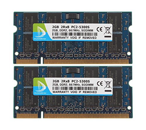 DUOMEIQI 4GB (2X 2GB) 2RX8 PC2-5300 PC2-5400 PC2-5300S DDR2 667MHz CL5 200 Pin 1.8v SODIMM Notebook Memory Non-ECC Unbuffered Laptop RAM Modules Compatible with Intel AMD and MAC System ()