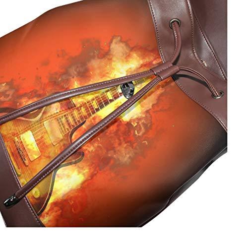 Gitarr eld flamma het rock märke ryggsäck handväska mode PU-läder ryggsäck ledig ryggsäck för kvinnor