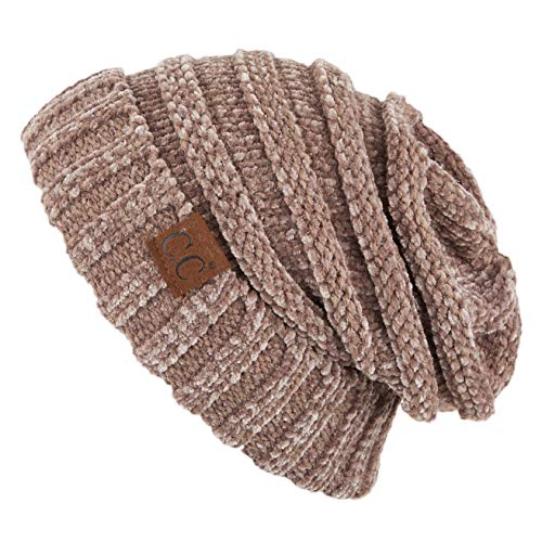 C.C Exclusives Unisex Oversized Slouchy Beanie (Taupe Chenille)