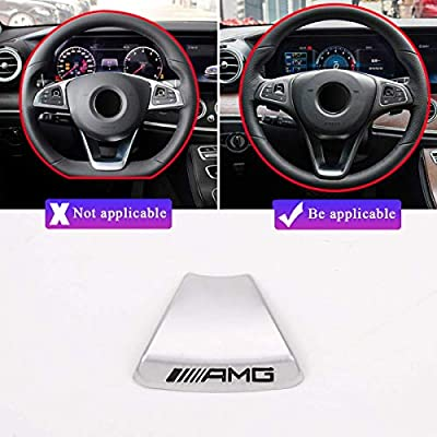 YIWANG Zinc Alloy Steering Wheel Emblem Decor Decal Sticker Badge Decoration AMG Logo For Mercedes Benz A B C E Class GLA CLA GLC GLE GLS W213 W205 x253 (Round steering wheel): Automotive