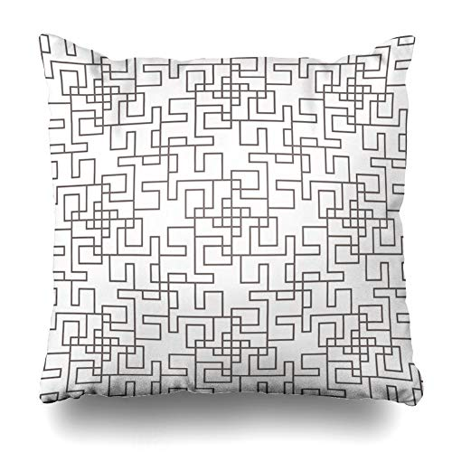 Ahawoso Throw Pillow Cover Trellis 70S Geometric Abstract Linear Monochrome 60S Modern Classic Graphics Grid Imagery Design Line Zippered Pillowcase Square Size 16 x 16 Inches Home Decor Cushion Case - Cotton Red Envelope Robe
