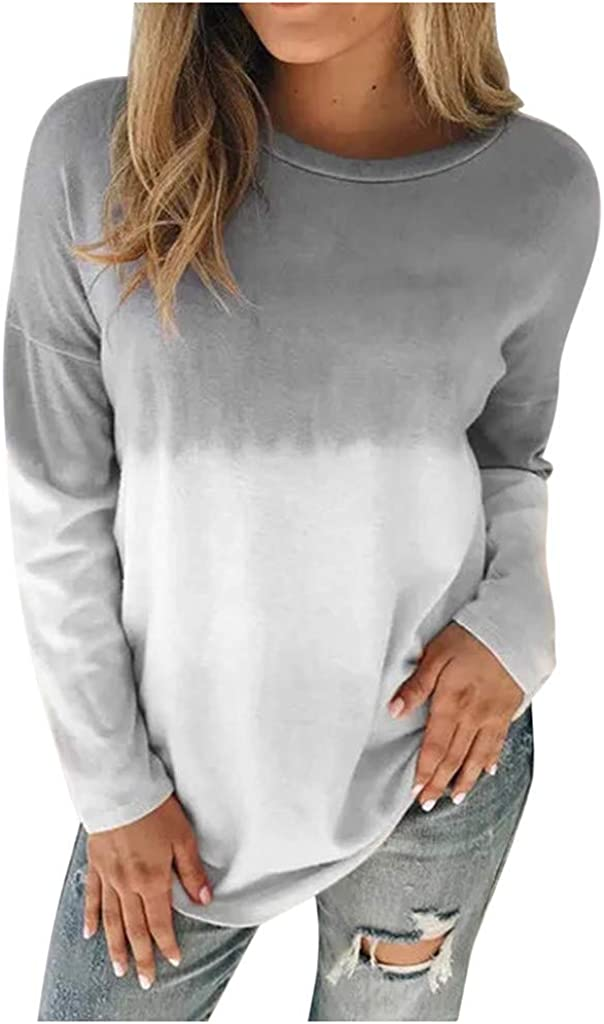 VEKDONE Women Tie Dye Sweatshirt Casual Lightweight Soft Cozy Slouchy Loose Crewneck Pullover Tunic Tops Plus Size at  Women's Clothing store