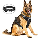 WINSEE Dog Harness, No-Pull Walking Pet Vest Harness with Handle and Front/Back Leash Attachments, Reflective Adjustable Oxford Material Easy Control Harness Black for Extra Large Dog