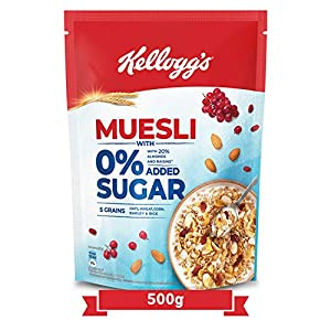 Kellogg's Muesli 0% Added Sugar , Breakfast Cereal , High in Iron, Source of Fibre , Naturally Cholesterol Free , 500g Pack