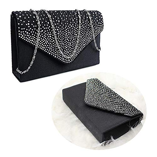 Brand New Ladies Diamond Envelope Clutch Bag Evening Party/ Bridal Wedding/ Hand Bag Black Black