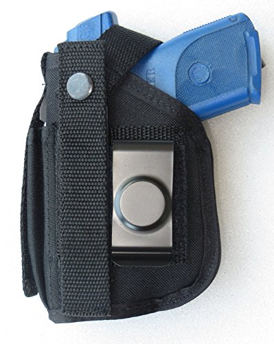 Hip Holster with Magazine Pouch for Ruger SR22 with Underbarrel Laser Mounted on Gun