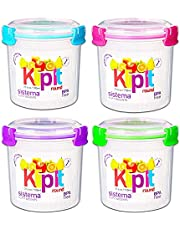 Sistema Containers Lunch Salad Set with Klip It Lids - Bundle with 4 Large Sistema Lunch Containers, 23 Oz / 0.7 L (BPA Free, 100% Food Safe, Microwave Safe)