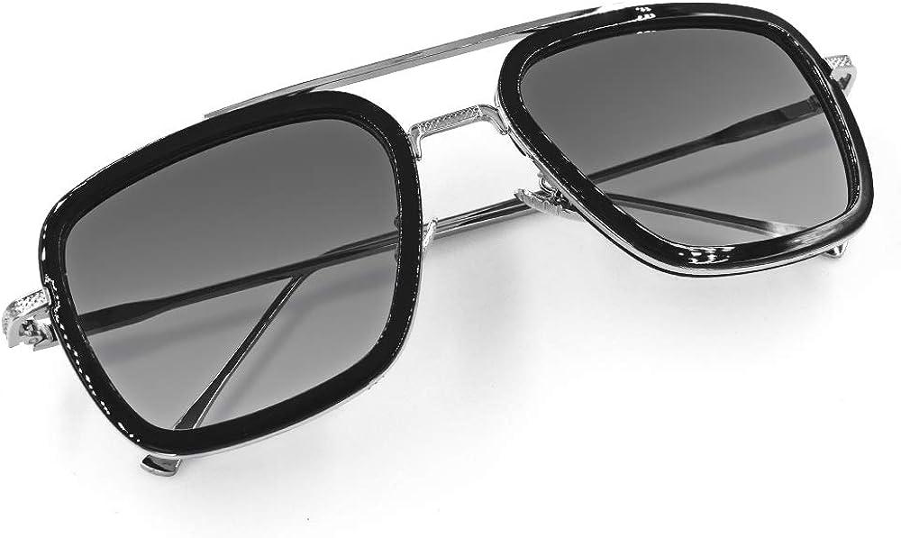 Vintage Aviator Square Sunglasses for Men Women Gold Frame Retro Classic Sunglasses