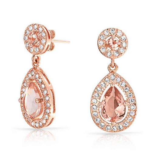 Fashion Pink Simulated Morganite AAA CZ Halo Pear Shaped Teardrop Dangle Earrings For Women Prom Rose Gold Plated Brass