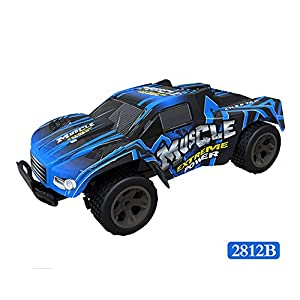 Electric Radio RC Truck with Full-Time 4-Wheel Drive System High Speed Remote Control Racing Truck Car Kids Republic 1/20 Scale Off Road Truck with 4 Shock Absorbers, Ages 8+ Kids Boys Toys (E)