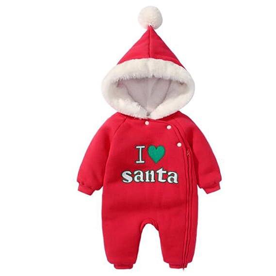 185099042a04f Hzjundasi Bébé père Noël Impression Noël Grenouillères Romper Bébé Enfant  Cotton Capuche Manches Longue Bodysuits Tenues