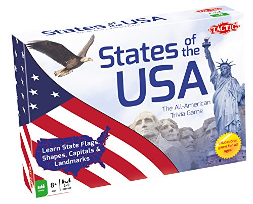 States of The USA Trivia Board Game (9 Player) (Trivia American Game)