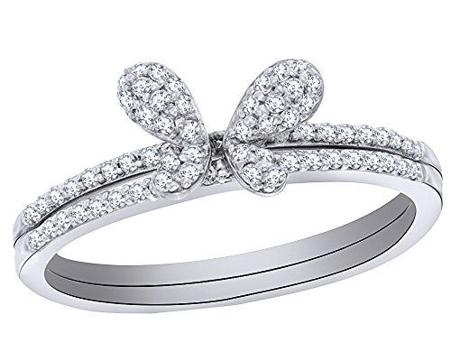 Round Cut Natural Champagne and White Diamond Butterfly Ring in 10K Solid Gold (1/4 Cttw)