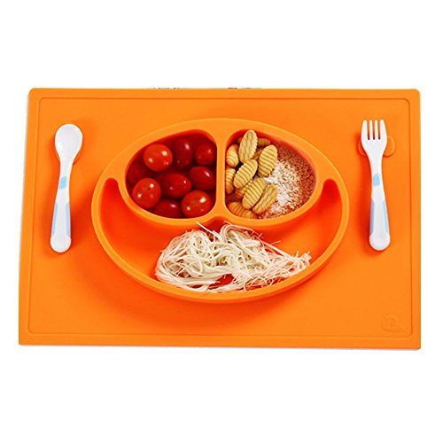 Food Silicone Placemat for Kids,Baby Feeding Mat with Mesh Spoon Fork Design Fits Highchair Trays Dinnerware Self Suction Pad Non-slip Tableware (Orange)