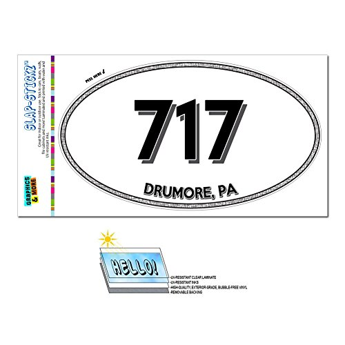 Graphics and More Area Code Oval Window Sticker 717 Pennsylvania PA Abbottstown - East Waterford - Drumore