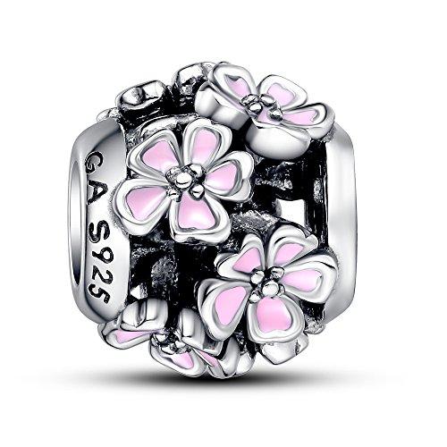 Enamel Bouquet - Glamulet Art - Pink Enamel Flower Bouquet Charm -- 925 Sterling Silver