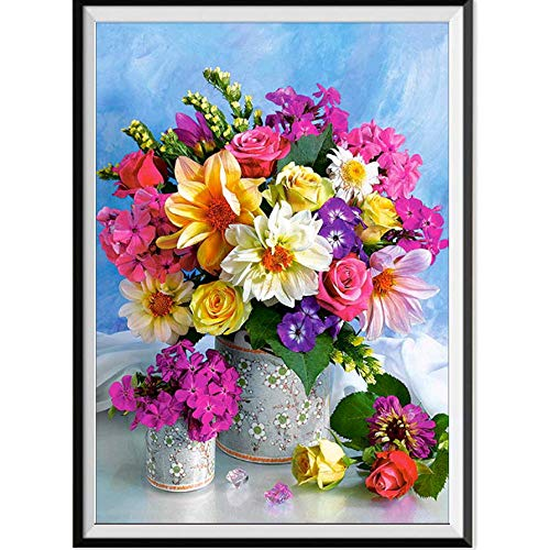 5D Diamond Painting Rhinestone Colorful Flowers Potted Plant Hollow Embroidery Wallpaper DIY Wall Sticker by Number Kits Full Drill Kits Full Drill Cross Stitch Arts 30X40CM
