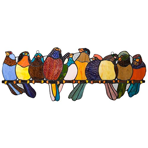 River of Goods Bird Suncatcher: Stained Glass Birds on a Wire Hanging Sun Catcher Window Panels - Stained Glass Art
