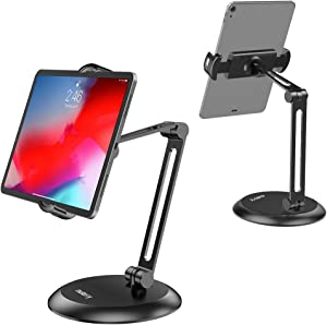"""Nulaxy Adjustable Tablet Stand, Heavy Duty Desktop Tablet Holder Mount, macOS Catalina Sidecar, 2-Stage Metal Arm Compatible with 4-11"""" Phones, Tablets, iPad, Nintendo Switch, Kindle - Updated Version"""