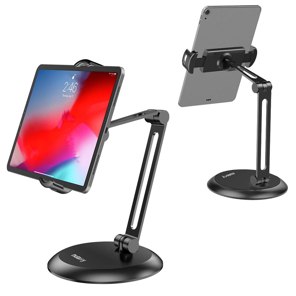 Nulaxy Adjustable Tablet Stand, Heavy Duty Desktop Tablet Holder Mount, macOS Catalina Sidecar, 2-Stage Metal Arm Compatible with 4-11'' Phones, Tablets, iPad, Nintendo Switch, Kindle - Updated Version by Nulaxy