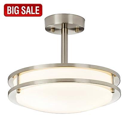 d7f577b60d0 SOTTAE Modern Brushed Nickel Kitchen Bathroom Dining Room Living Room Flush  Mount Ceiling Light